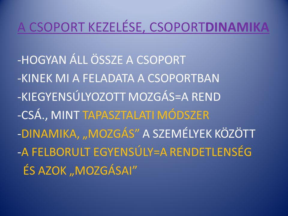 A CSOPORT KEZELÉSE, CSOPORTDINAMIKA