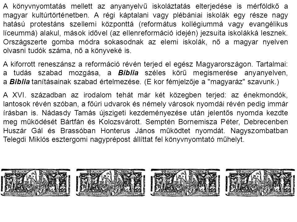 A könyvnyomtatás mellett az anyanyelvű iskoláztatás elterjedése is mérföldkő a magyar kultúrtörténetben. A régi káptalani vagy plébániai iskolák egy része nagy hatású protestáns szellemi központtá (református kollégiummá vagy evangélikus líceummá) alakul, mások idővel (az ellenreformáció idején) jezsuita iskolákká lesznek. Országszerte gomba módra sokasodnak az elemi iskolák, nő a magyar nyelven olvasni tudók száma, nő a könyveké is.