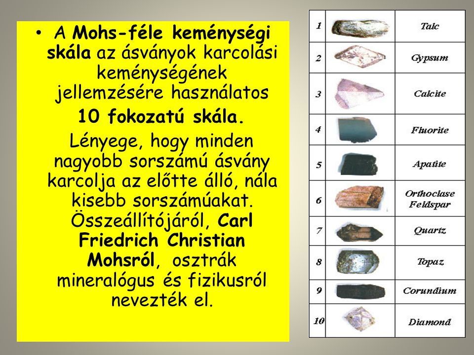 A Mohs-féle keménységi skála az ásványok karcolási keménységének jellemzésére használatos