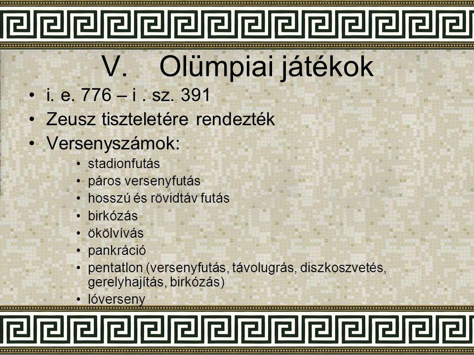 Olümpiai játékok i. e. 776 – i . sz. 391 Zeusz tiszteletére rendezték