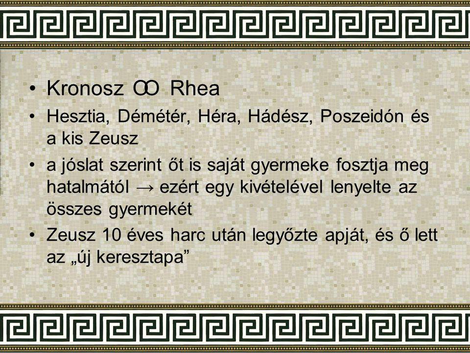Kronosz Rhea Hesztia, Démétér, Héra, Hádész, Poszeidón és a kis Zeusz.