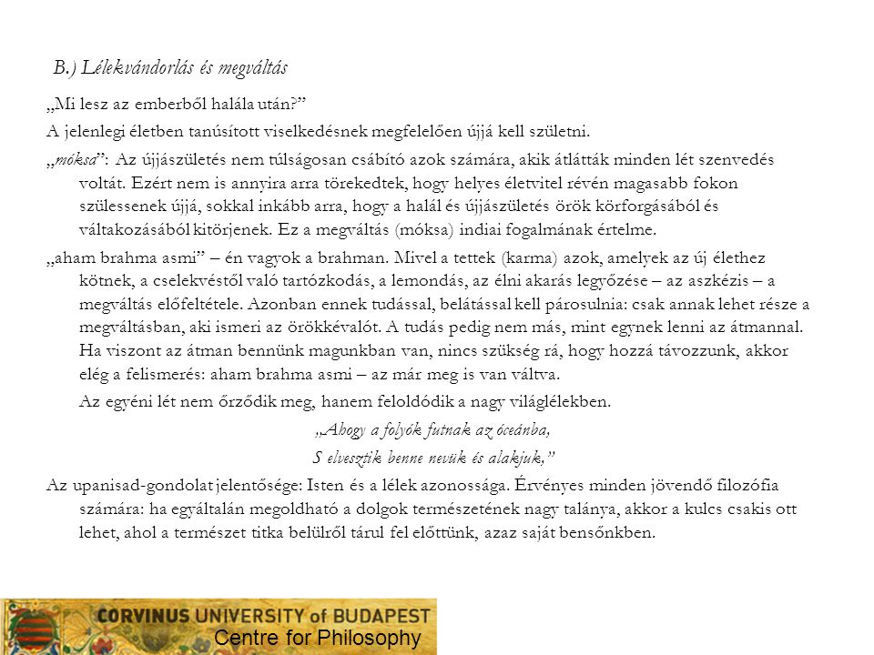 B.) Lélekvándorlás és megváltás
