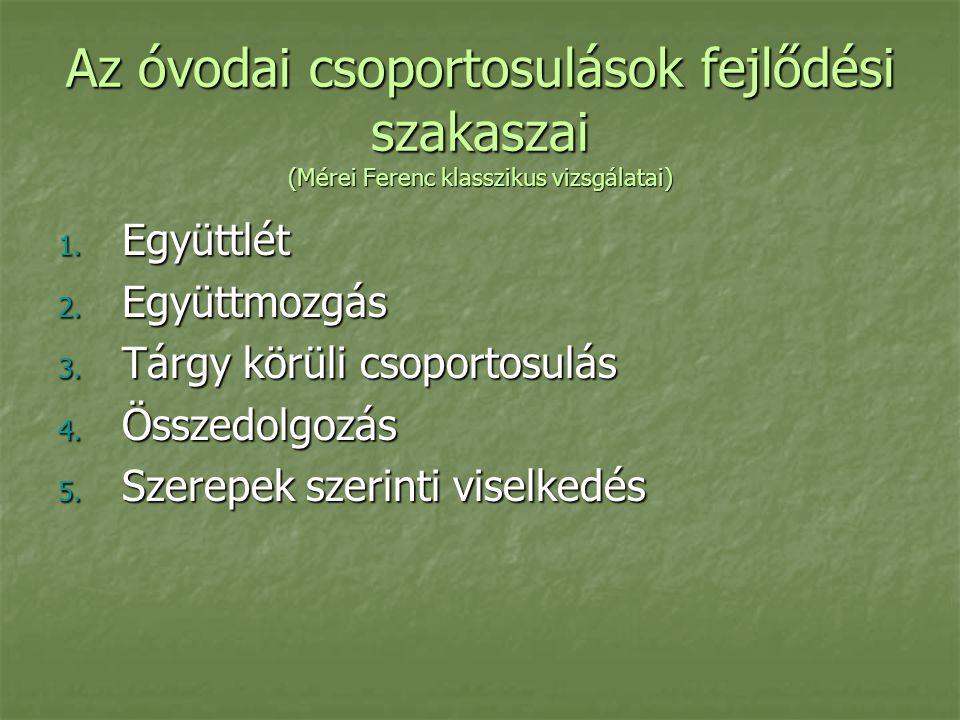 Az óvodai csoportosulások fejlődési szakaszai (Mérei Ferenc klasszikus vizsgálatai)