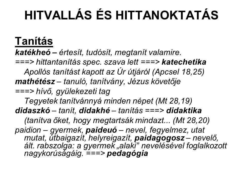 HITVALLÁS ÉS HITTANOKTATÁS