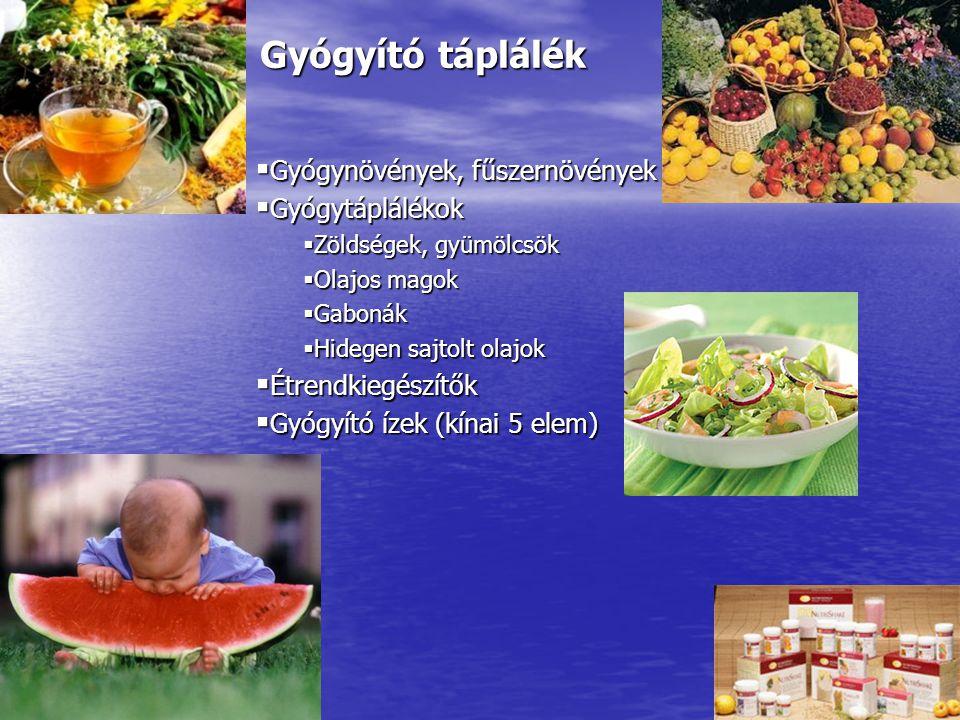Gyógyító táplálék Gyógynövények, fűszernövények Gyógytáplálékok