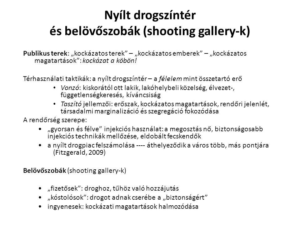 és belövőszobák (shooting gallery-k)