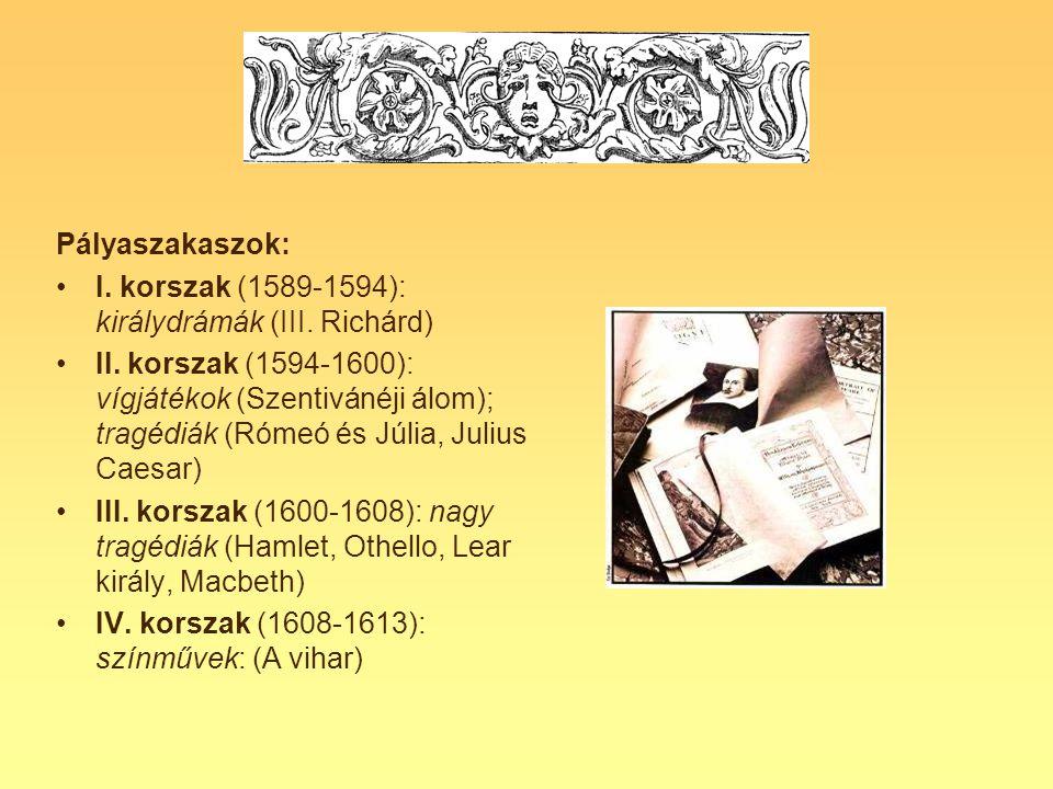 Pályaszakaszok: I. korszak (1589-1594): királydrámák (III. Richárd)