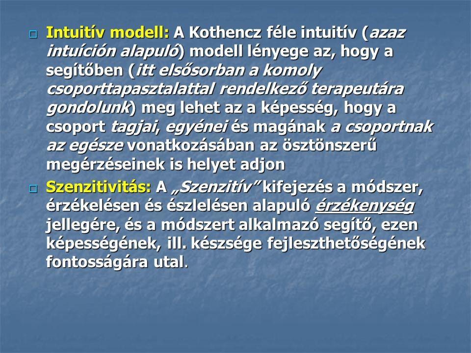 Intuitív modell: A Kothencz féle intuitív (azaz intuíción alapuló) modell lényege az, hogy a segítőben (itt elsősorban a komoly csoporttapasztalattal rendelkező terapeutára gondolunk) meg lehet az a képesség, hogy a csoport tagjai, egyénei és magának a csoportnak az egésze vonatkozásában az ösztönszerű megérzéseinek is helyet adjon