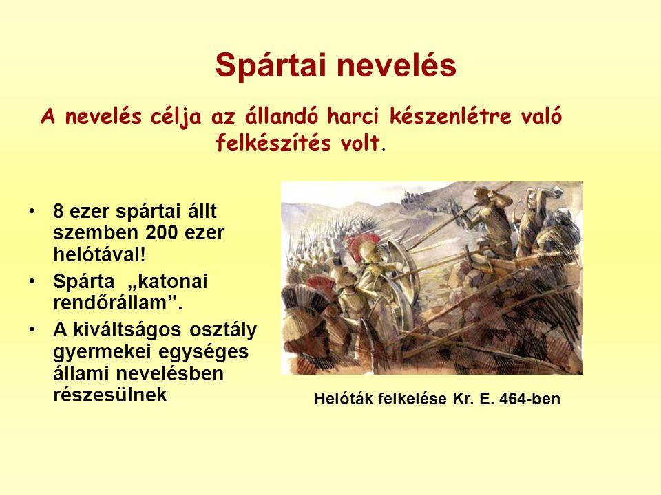 Spártai nevelés A nevelés célja az állandó harci készenlétre való