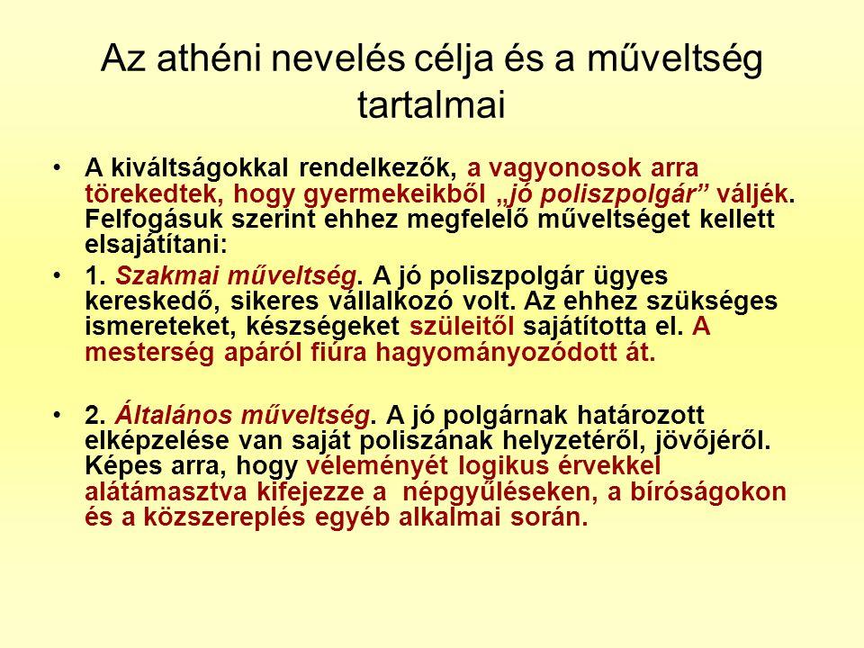 Az athéni nevelés célja és a műveltség tartalmai