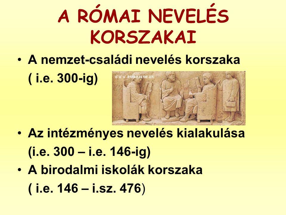 A RÓMAI NEVELÉS KORSZAKAI