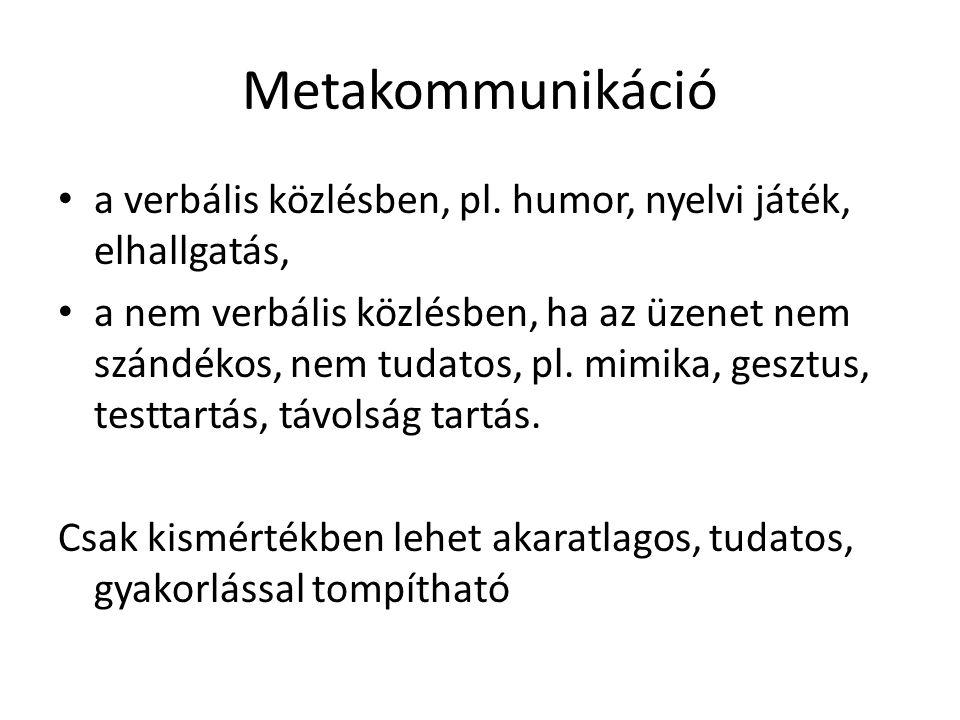 Metakommunikáció a verbális közlésben, pl. humor, nyelvi játék, elhallgatás,