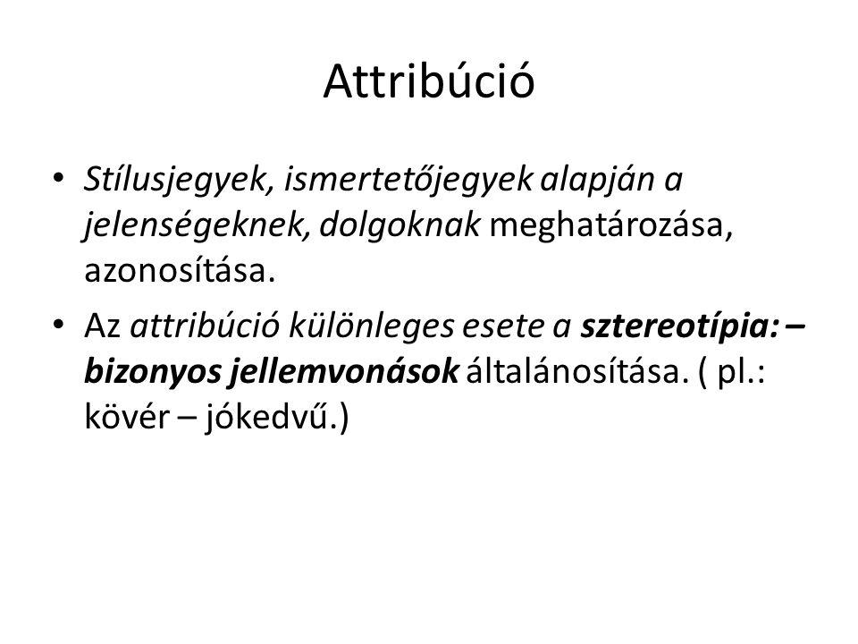 Attribúció Stílusjegyek, ismertetőjegyek alapján a jelenségeknek, dolgoknak meghatározása, azonosítása.