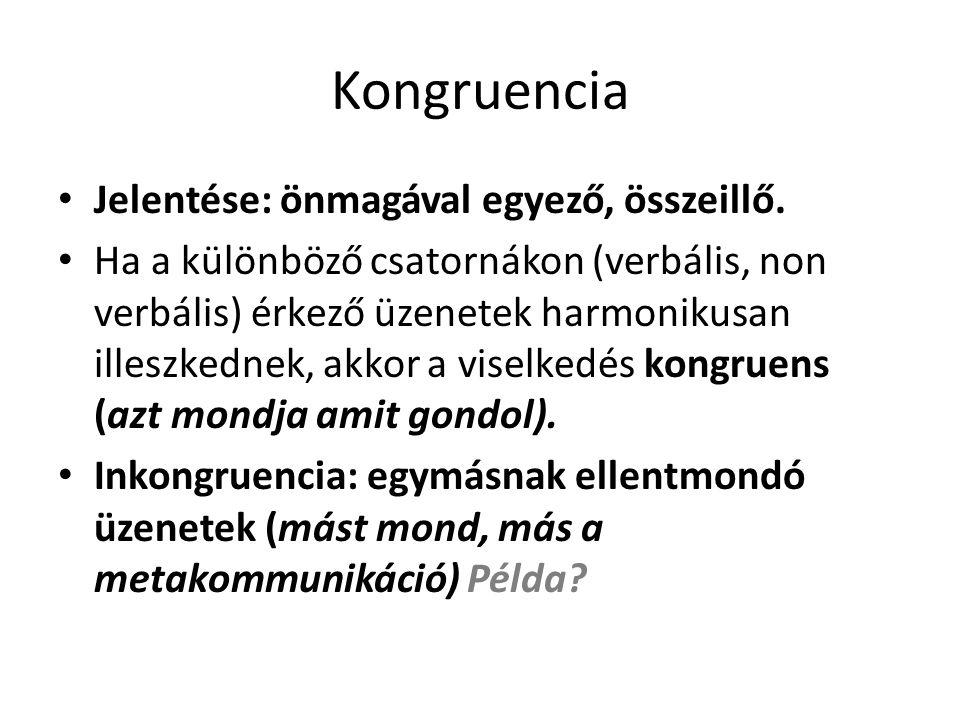 Kongruencia Jelentése: önmagával egyező, összeillő.