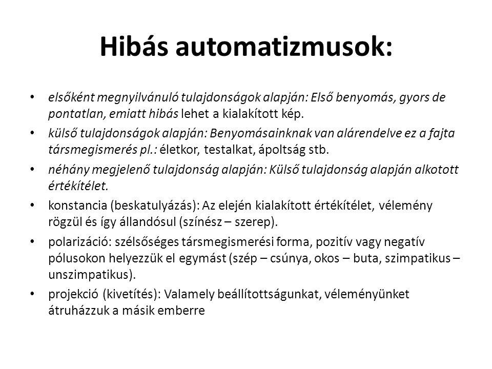 Hibás automatizmusok: