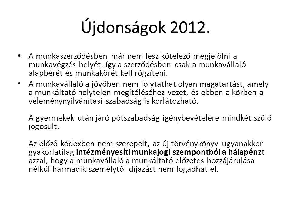 Újdonságok 2012.