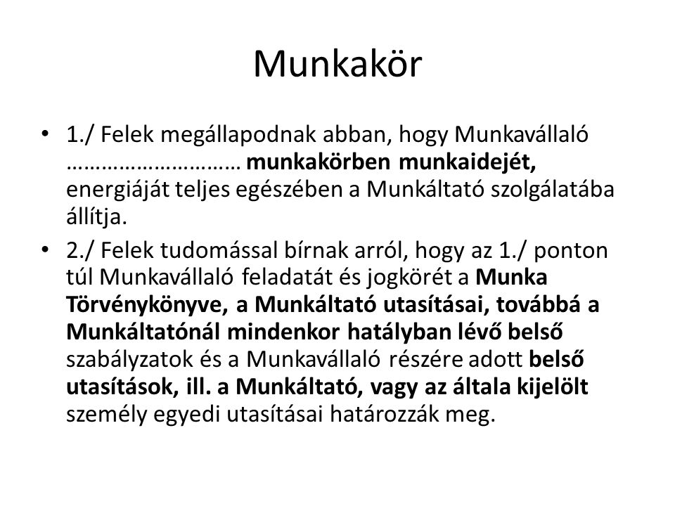 Munkakör