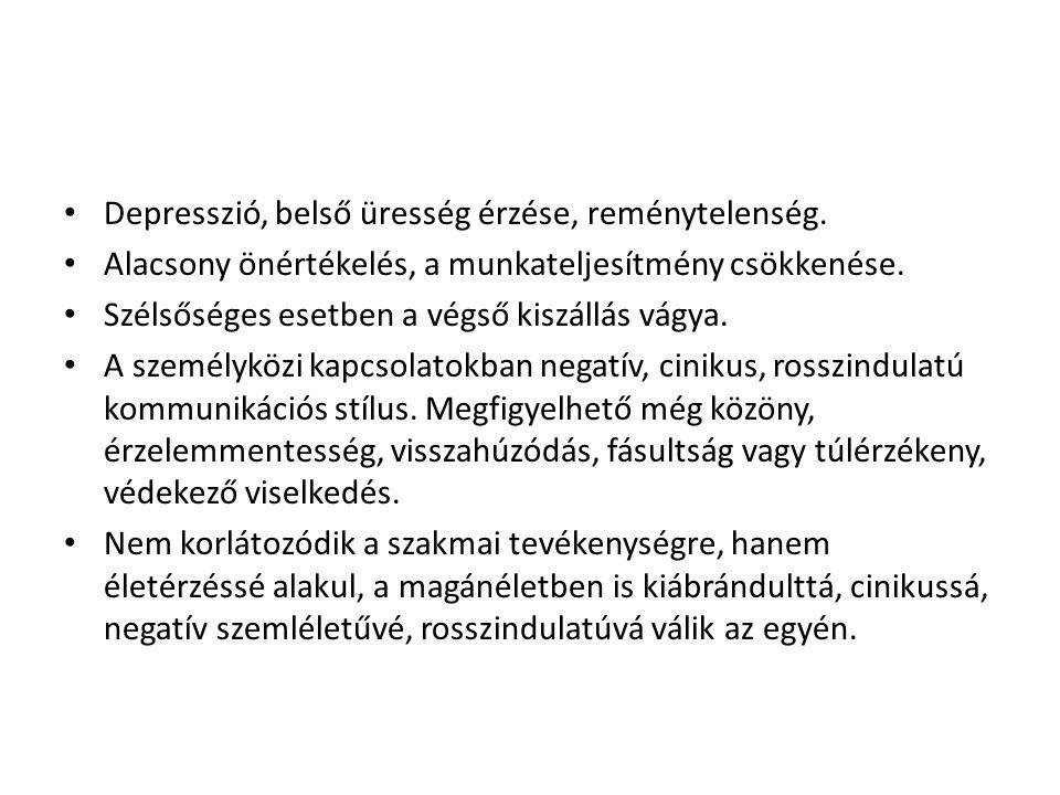 Depresszió, belső üresség érzése, reménytelenség.