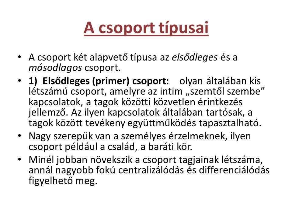 A csoport típusai A csoport két alapvető típusa az elsődleges és a másodlagos csoport.
