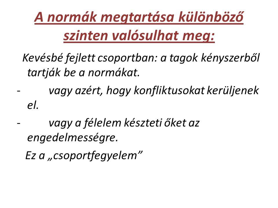 A normák megtartása különböző szinten valósulhat meg: