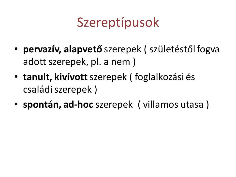 Szereptípusok pervazív, alapvető szerepek ( születéstől fogva adott szerepek, pl. a nem )