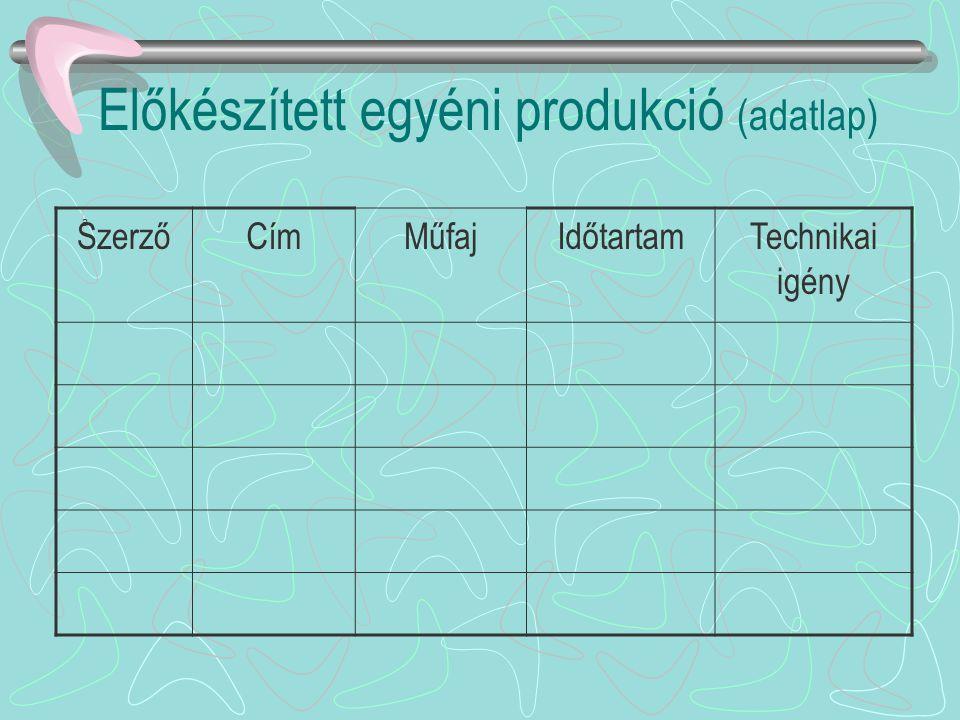 Előkészített egyéni produkció (adatlap)