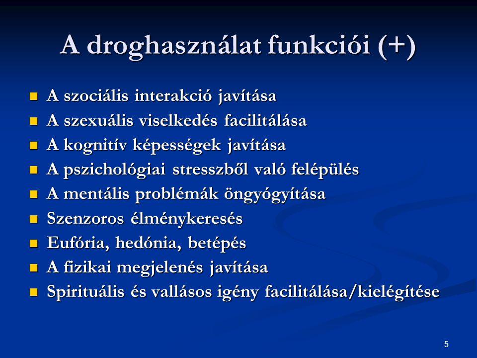 A droghasználat funkciói (+)