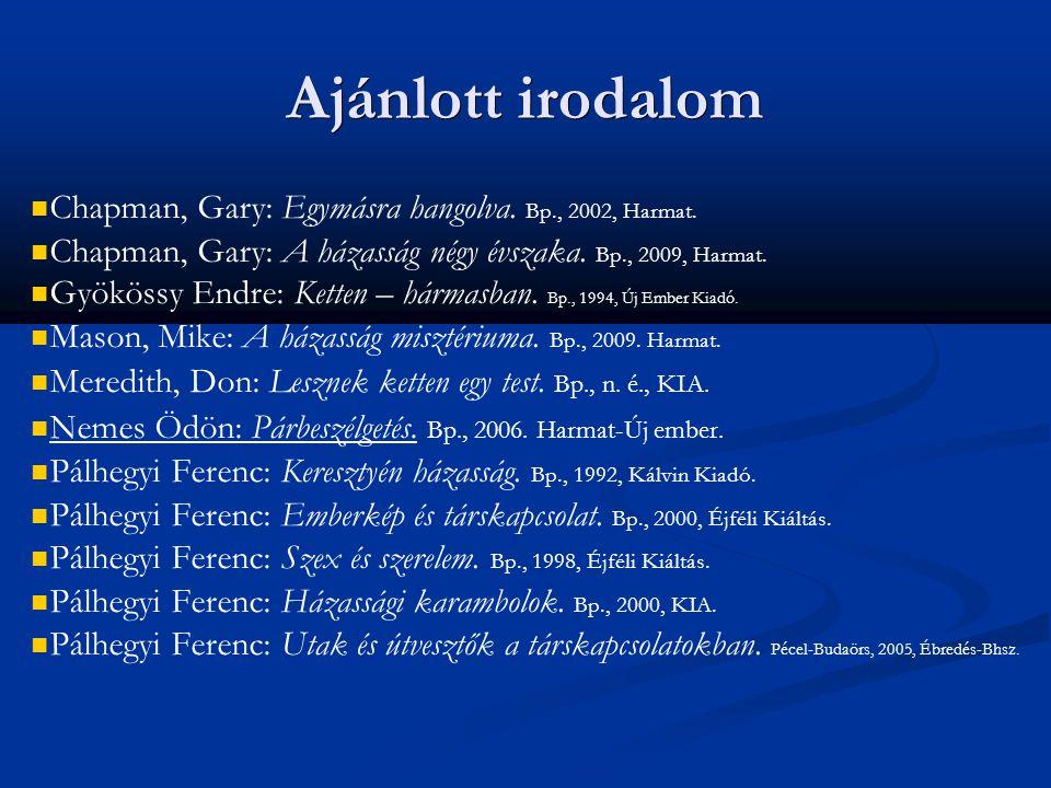 Ajánlott irodalom Chapman, Gary: Egymásra hangolva. Bp., 2002, Harmat.