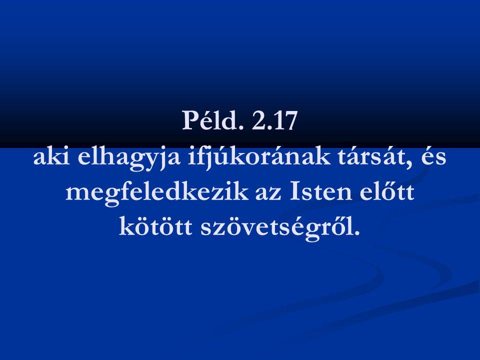 Péld. 2.17 aki elhagyja ifjúkorának társát, és megfeledkezik az Isten előtt kötött szövetségről.