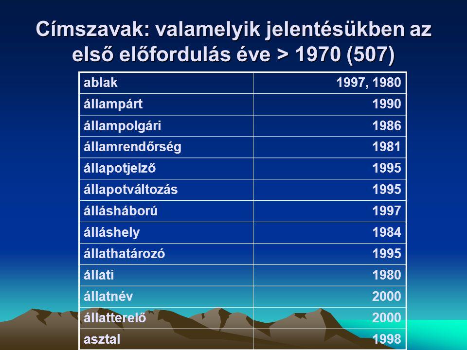 Címszavak: valamelyik jelentésükben az első előfordulás éve > 1970 (507)