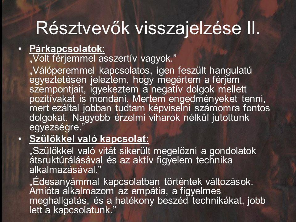 Résztvevők visszajelzése II.