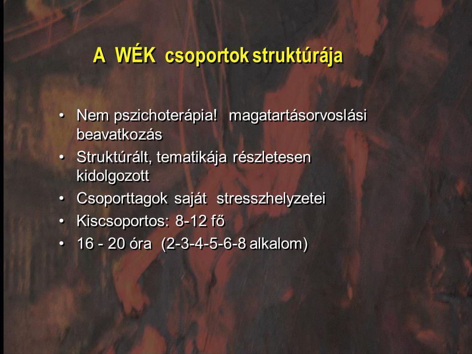 A WÉK csoportok struktúrája