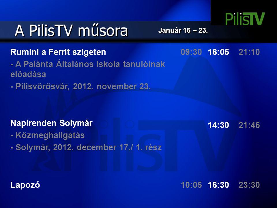 A PilisTV műsora Rumini a Ferrit szigeten