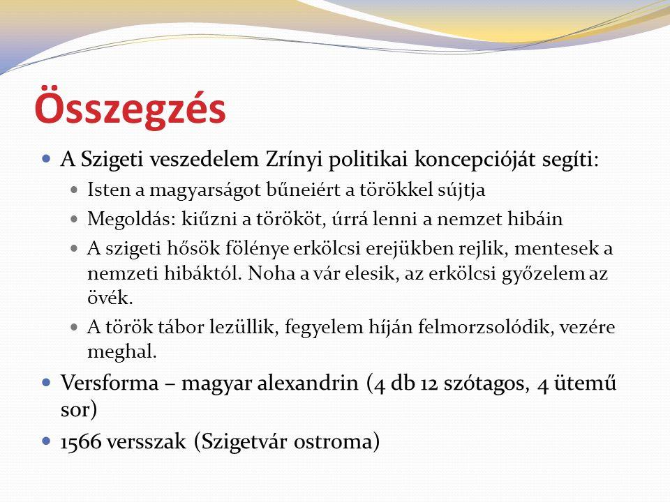 Összegzés A Szigeti veszedelem Zrínyi politikai koncepcióját segíti: