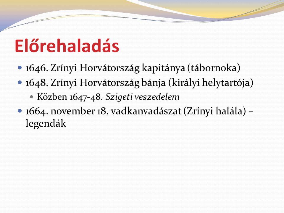 Előrehaladás 1646. Zrínyi Horvátország kapitánya (tábornoka)
