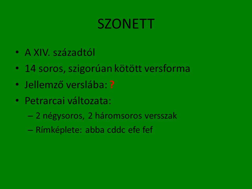 SZONETT A XIV. századtól 14 soros, szigorúan kötött versforma