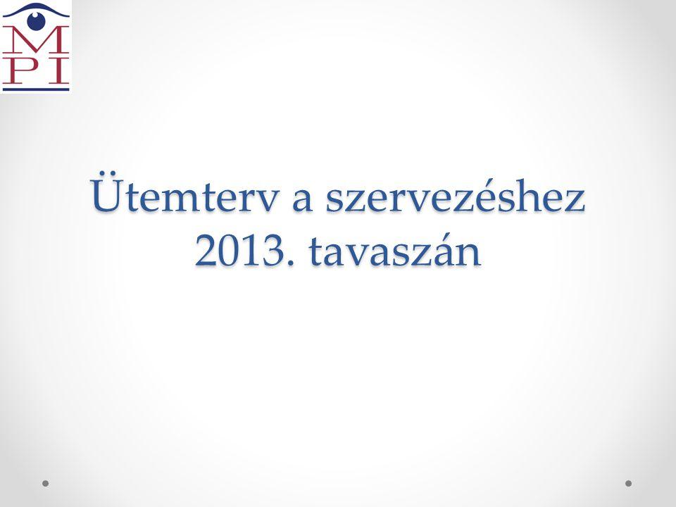 Ütemterv a szervezéshez 2013. tavaszán