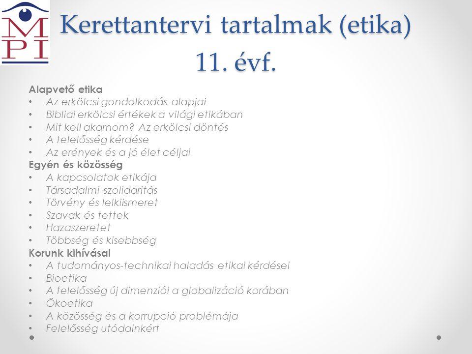 Kerettantervi tartalmak (etika) 11. évf.