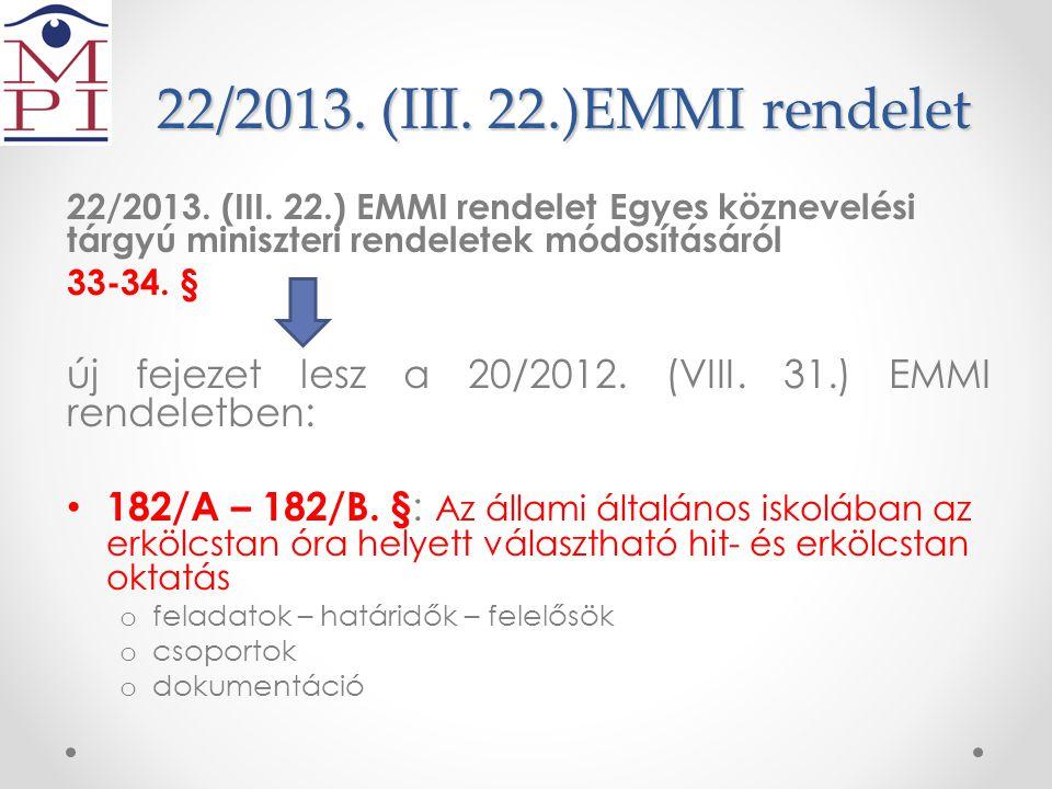 22/2013. (III. 22.)EMMI rendelet 22/2013. (III. 22.) EMMI rendelet Egyes köznevelési tárgyú miniszteri rendeletek módosításáról.
