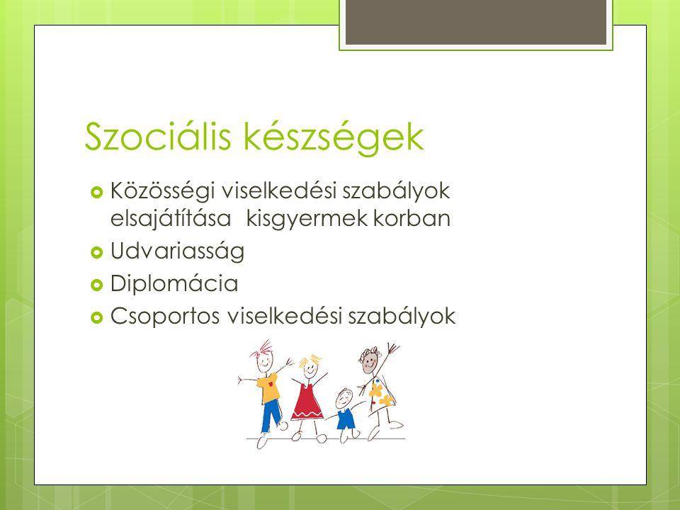 Szociális készségek Közösségi viselkedési szabályok elsajátítása kisgyermek korban. Udvariasság. Diplomácia.