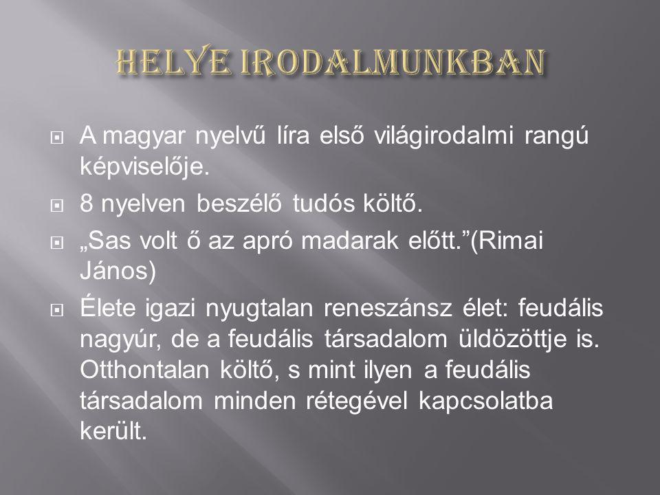 Helye irodalmunkban A magyar nyelvű líra első világirodalmi rangú képviselője. 8 nyelven beszélő tudós költő.