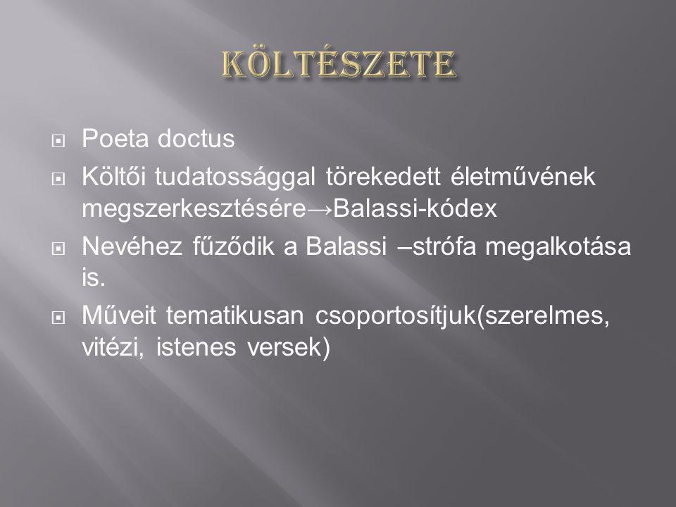 Költészete Poeta doctus