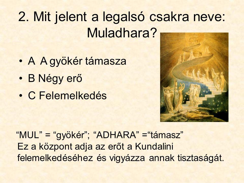 2. Mit jelent a legalsó csakra neve: Muladhara