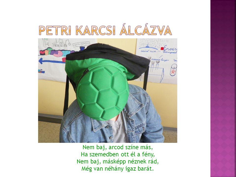 Petri Karcsi Álcázva Nem baj, arcod színe más, Ha szemedben ott él a fény, Nem baj, másképp néznek rád, Még van néhány igaz barát.