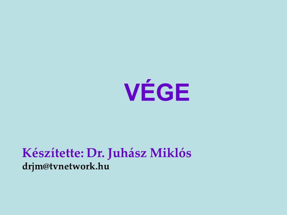 VÉGE Készítette: Dr. Juhász Miklós drjm@tvnetwork.hu