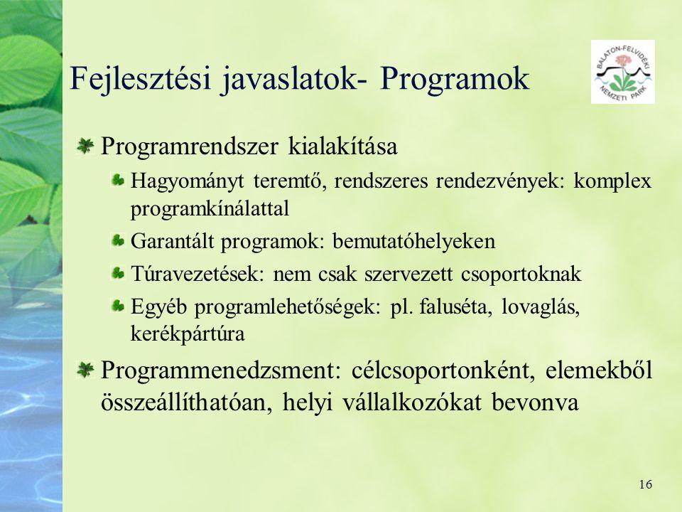 Fejlesztési javaslatok- Programok
