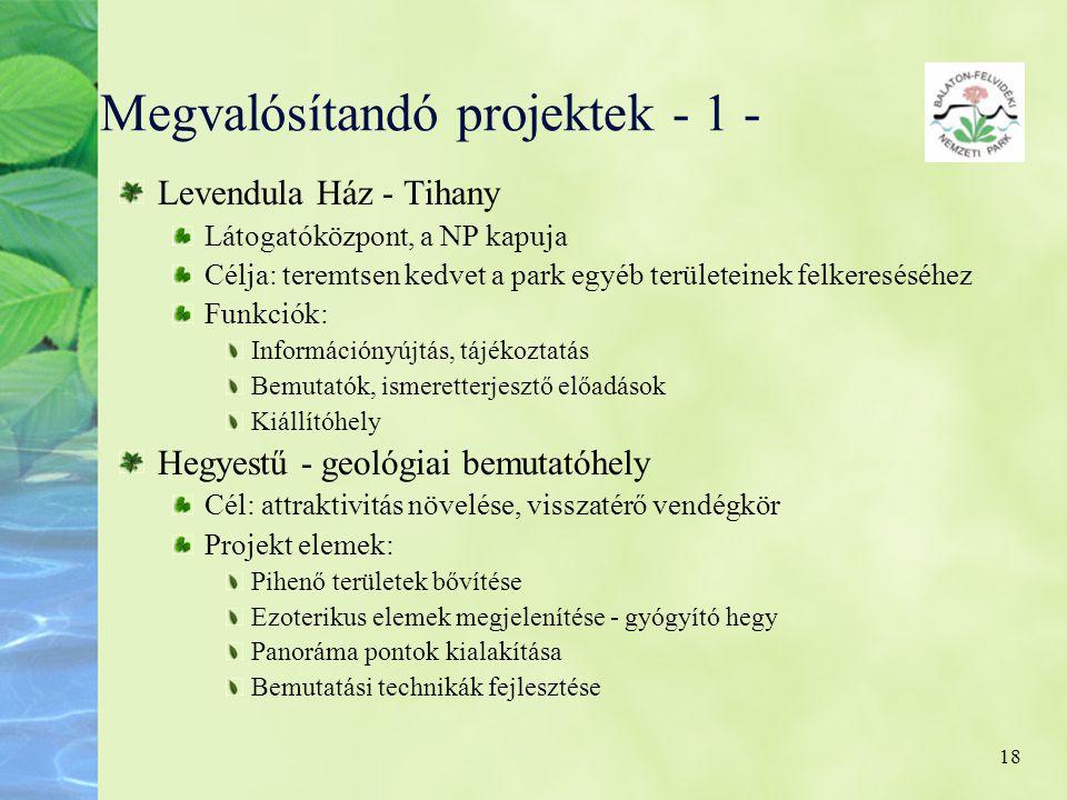 Megvalósítandó projektek - 1 -