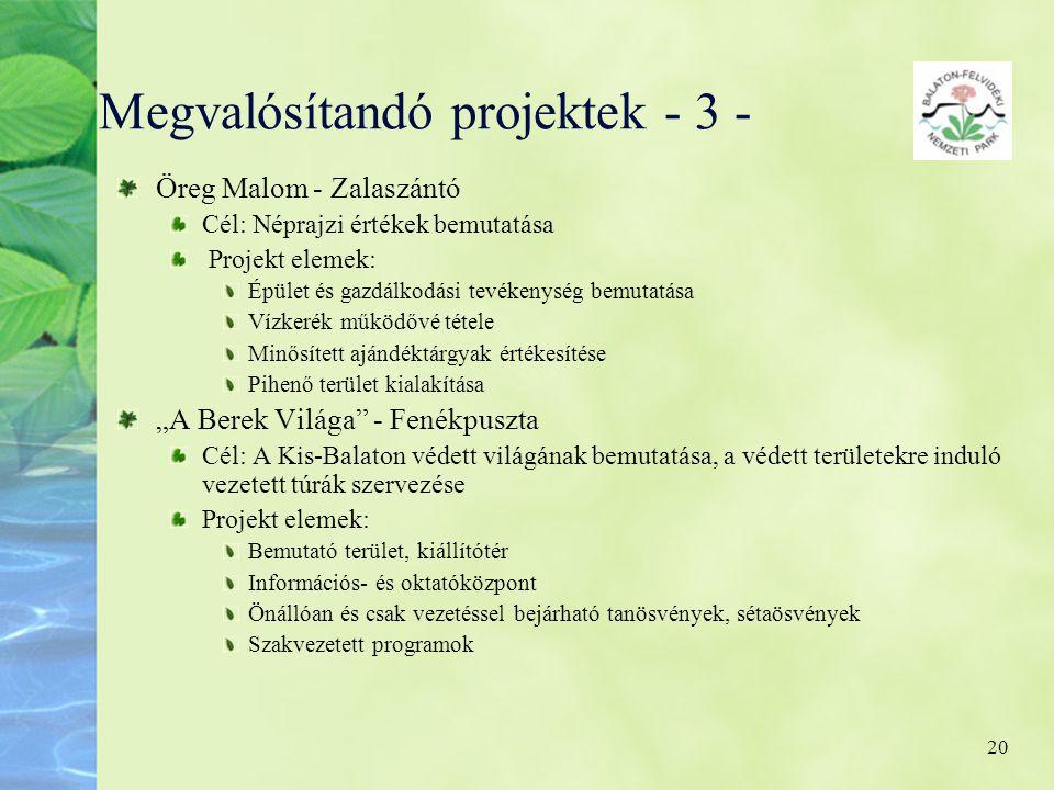 Megvalósítandó projektek - 3 -