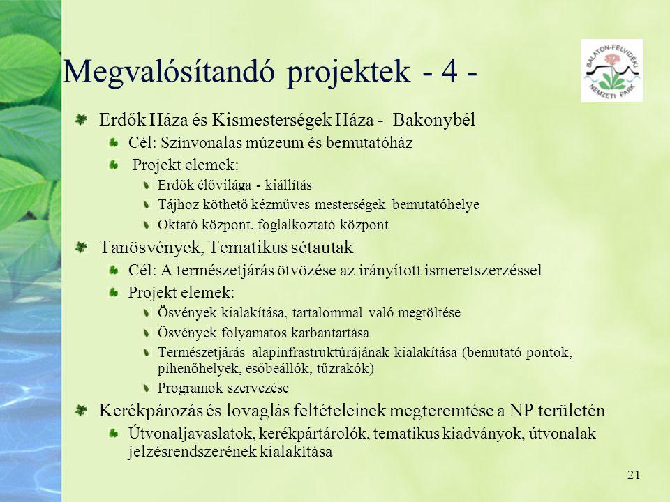 Megvalósítandó projektek - 4 -