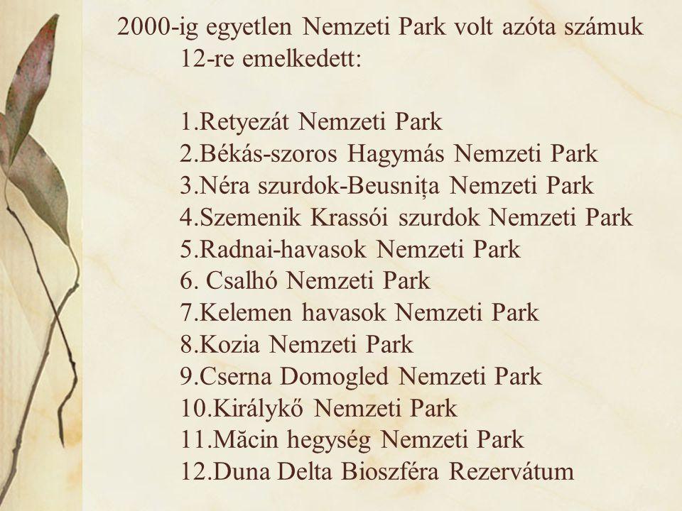 2000-ig egyetlen Nemzeti Park volt azóta számuk 12-re emelkedett: 1